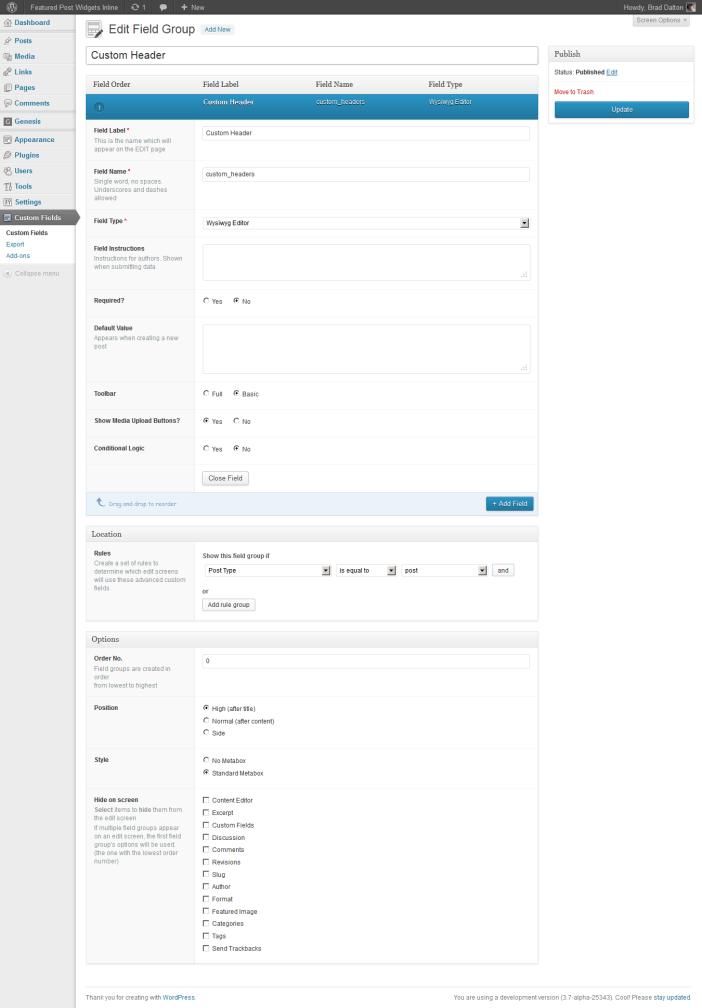 custom fields settings