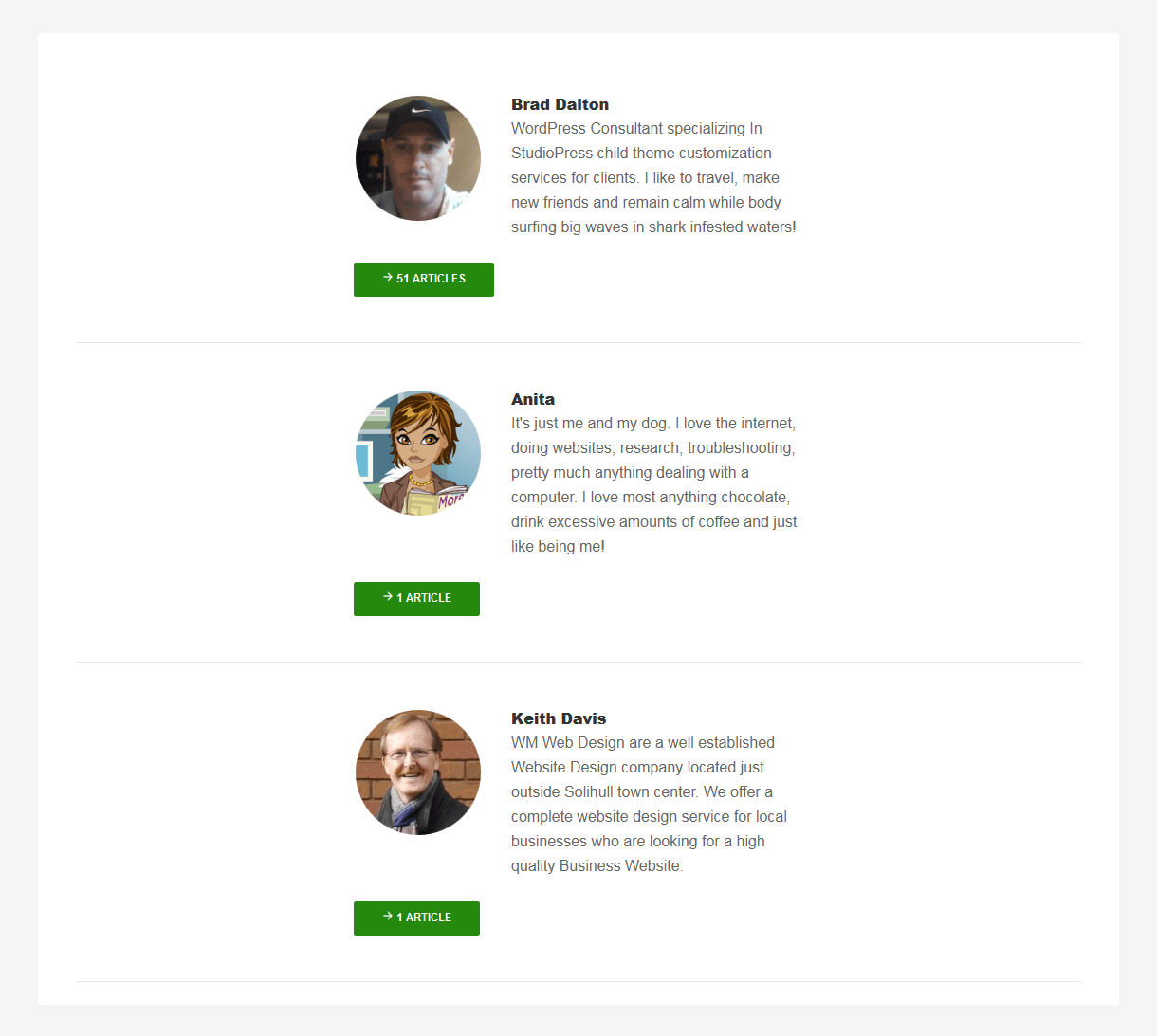 Author Contributors Page Template
