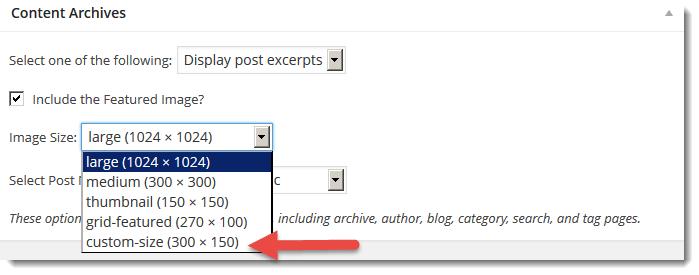 Add custom image size genesis
