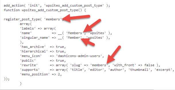 code to make a custom post type