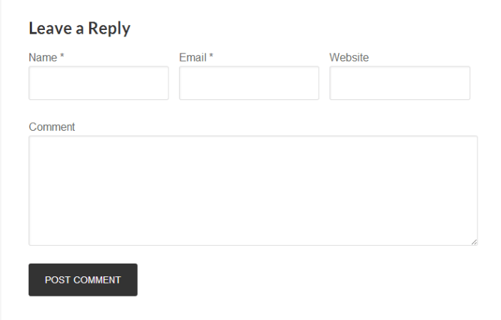 inline Comment Form fields