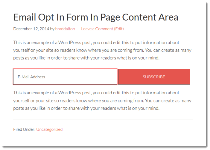 widget within page content