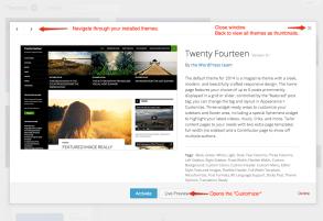 WordPress Themes Detail Window (3.8)