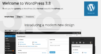 WordPress 3.8 Welcome Screen