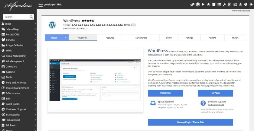 Softaculous Apps Installer WordPress Details