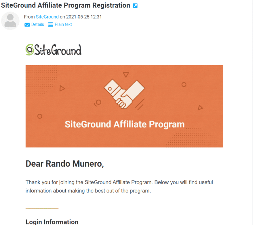 SIteGround Affiliate Approval Email