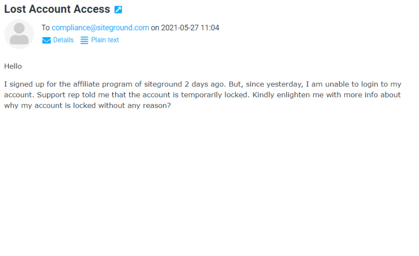 SiteGround Account Access Email