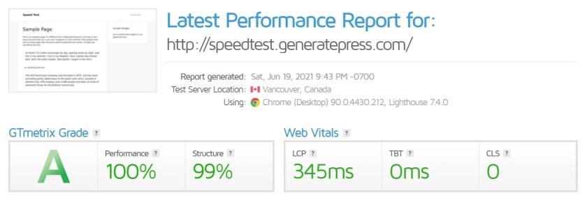 GeneratePress Testing Site GTMetrix
