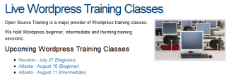 Upcoming WP Classes For 2010