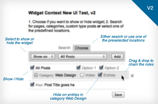 widget context proposed user interface