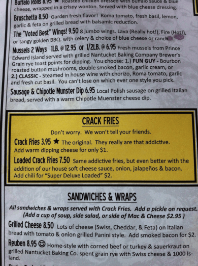 Hop Cat Menu