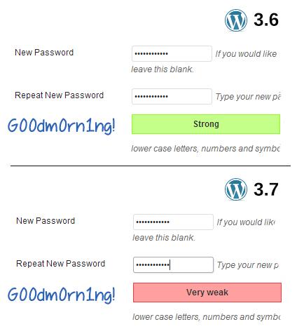 "Password ""G00dm0rn1ng!"" strength meter comparison"