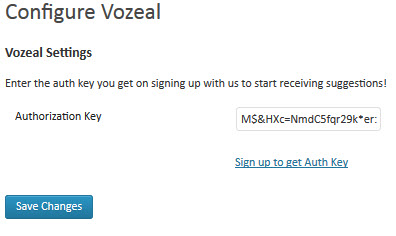 Vozeal Authorization Key