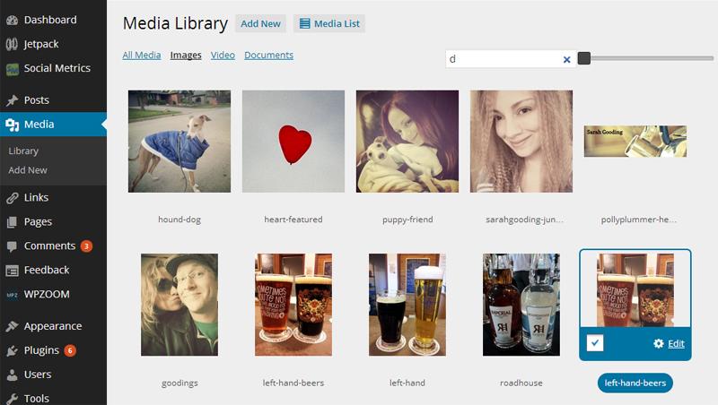WordPress Media Library Grid View