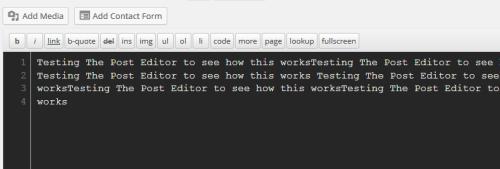 WordPress Text Editor Using Lesser Dark Theme