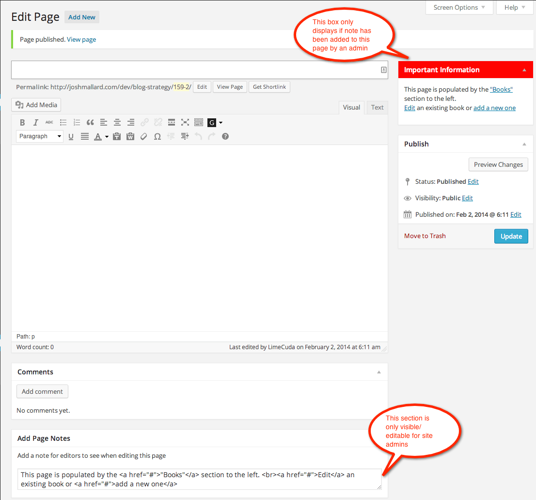 Admin Page Notes