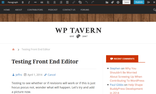 WordPress Front End Editor In Action