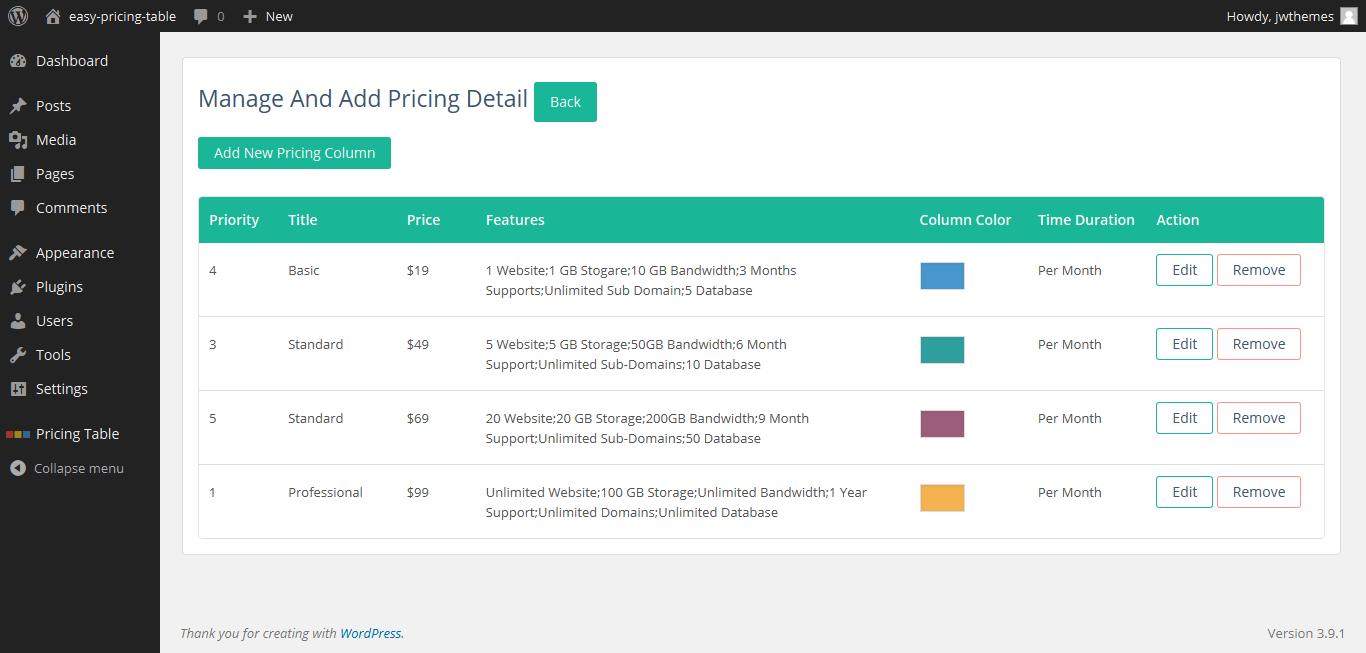 Easy pricing table plugin creates beautiful responsive for Simple table css