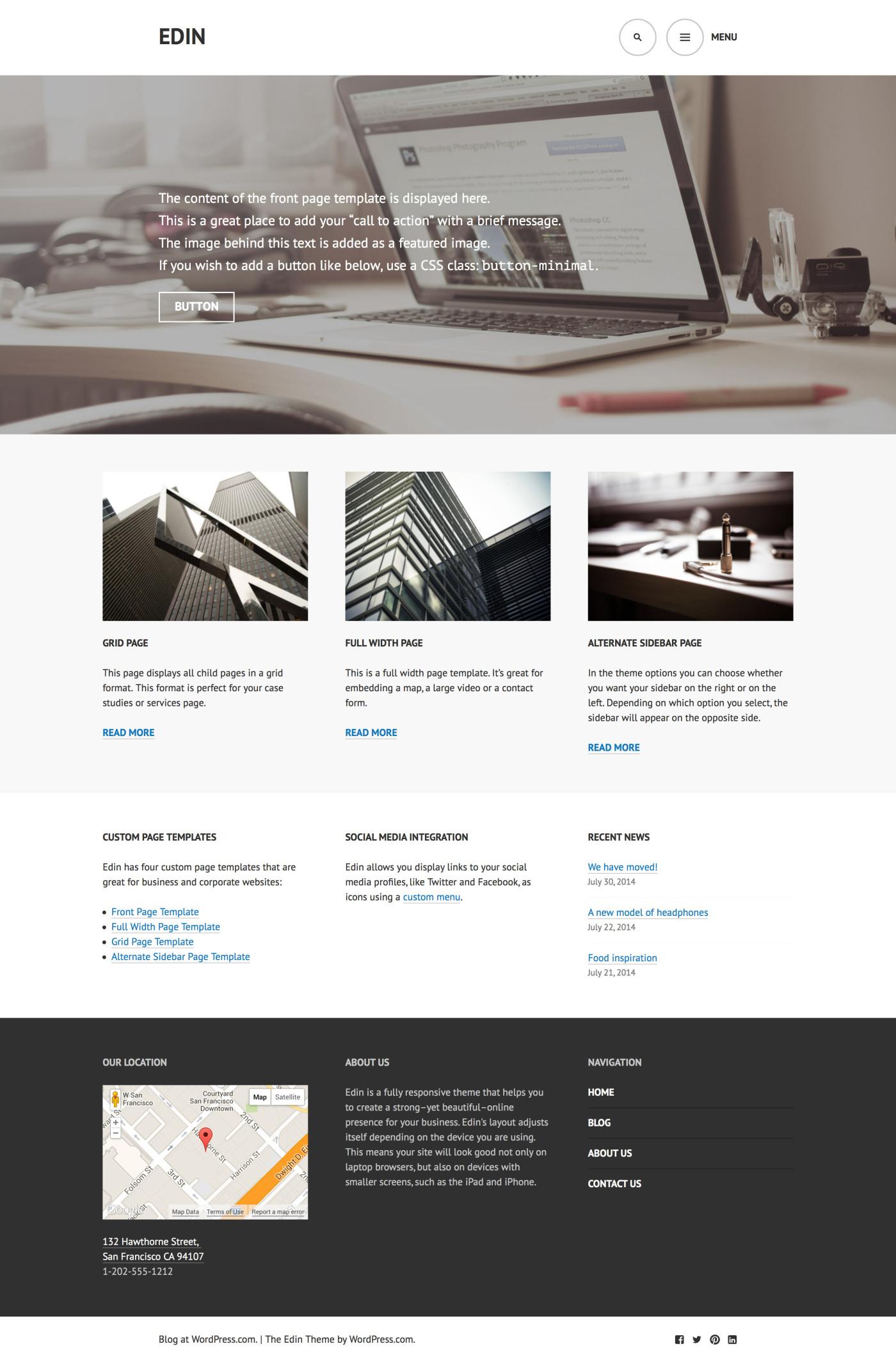 Edin: A Beautiful Free Business Theme for WordPress – WordPress Tavern