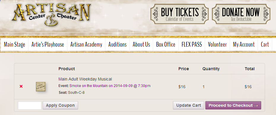 coupon artisan theater