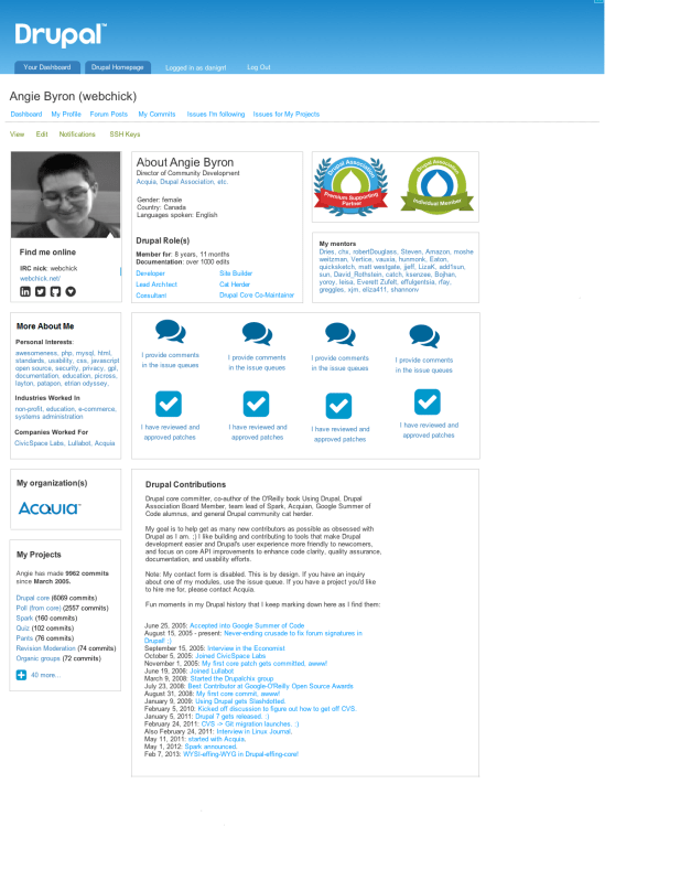 Drupal User Profile Page Redesign Concept