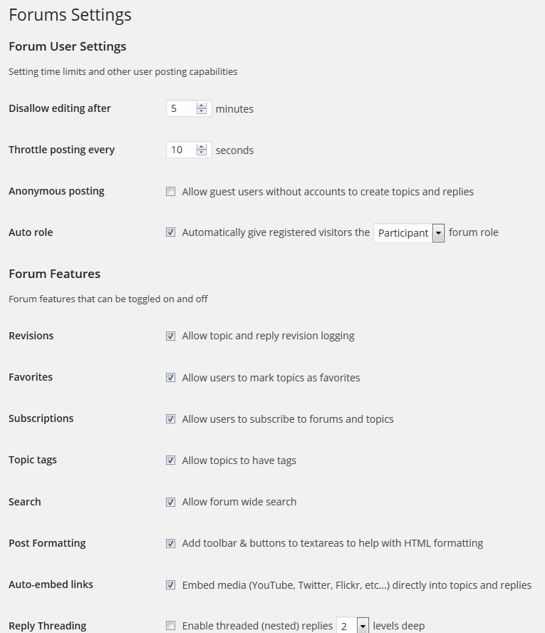 bbPress Forum Settings Screen