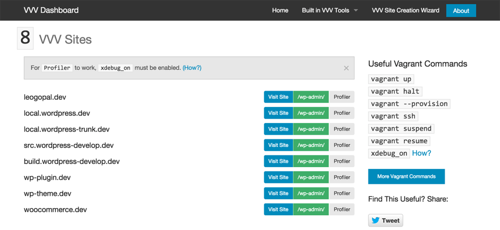 VVV-Dashboard Provides an Interface for Managing Varying Vagrant Vagrants Installations