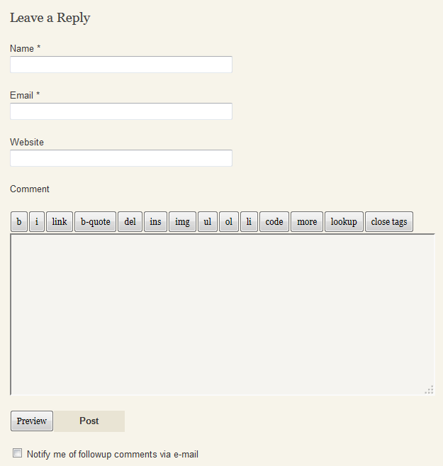 Comment Form Used on The Tavern in 2011