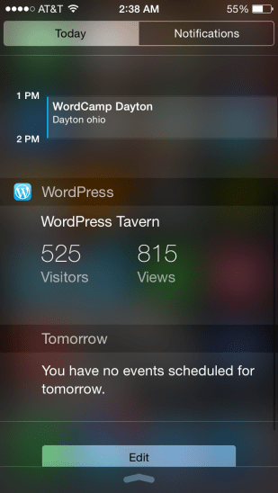 Website stats in the notification center