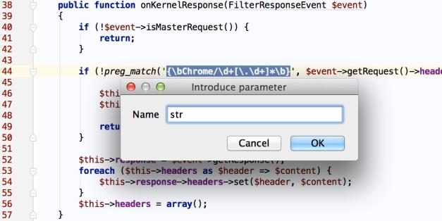 New in PhpStorm 9: Introduce parameter refactoring