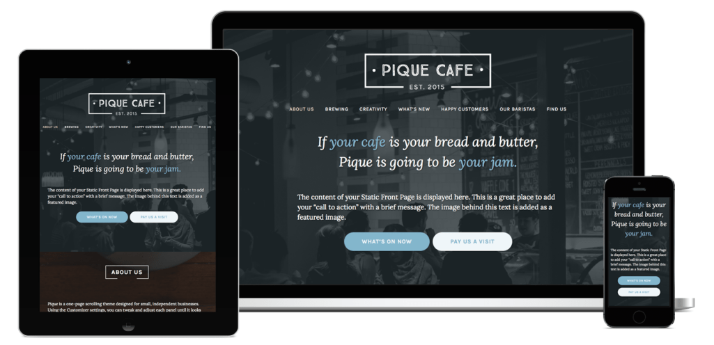 Pique: A Free Small Business Theme for WordPress