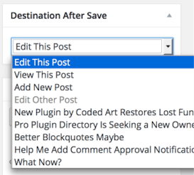 Destination After Save Meta Box Settings