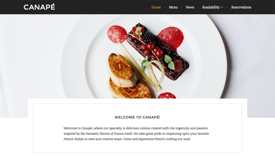 Canapé: An Elegant Free Restaurant Theme for WordPress