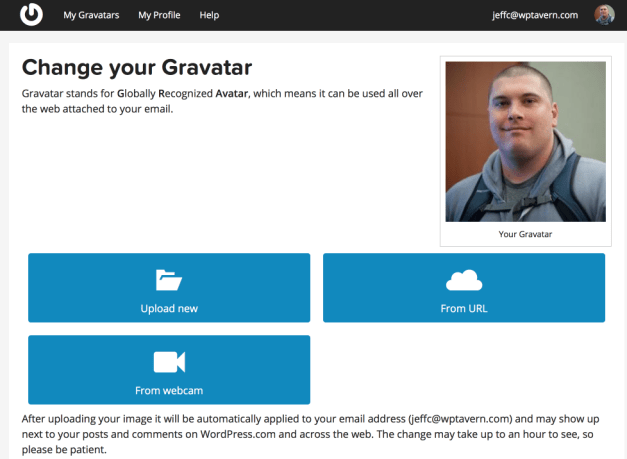 WordPress.com Configure Gravatar User Interface