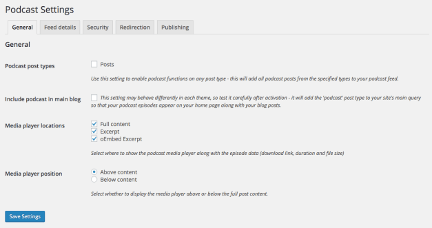 Seriously Simply Podcasting Settings Page
