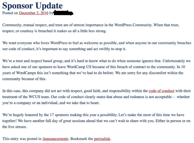 Archived Image of The Post Published on the WCUS Blog Explaining The Situation