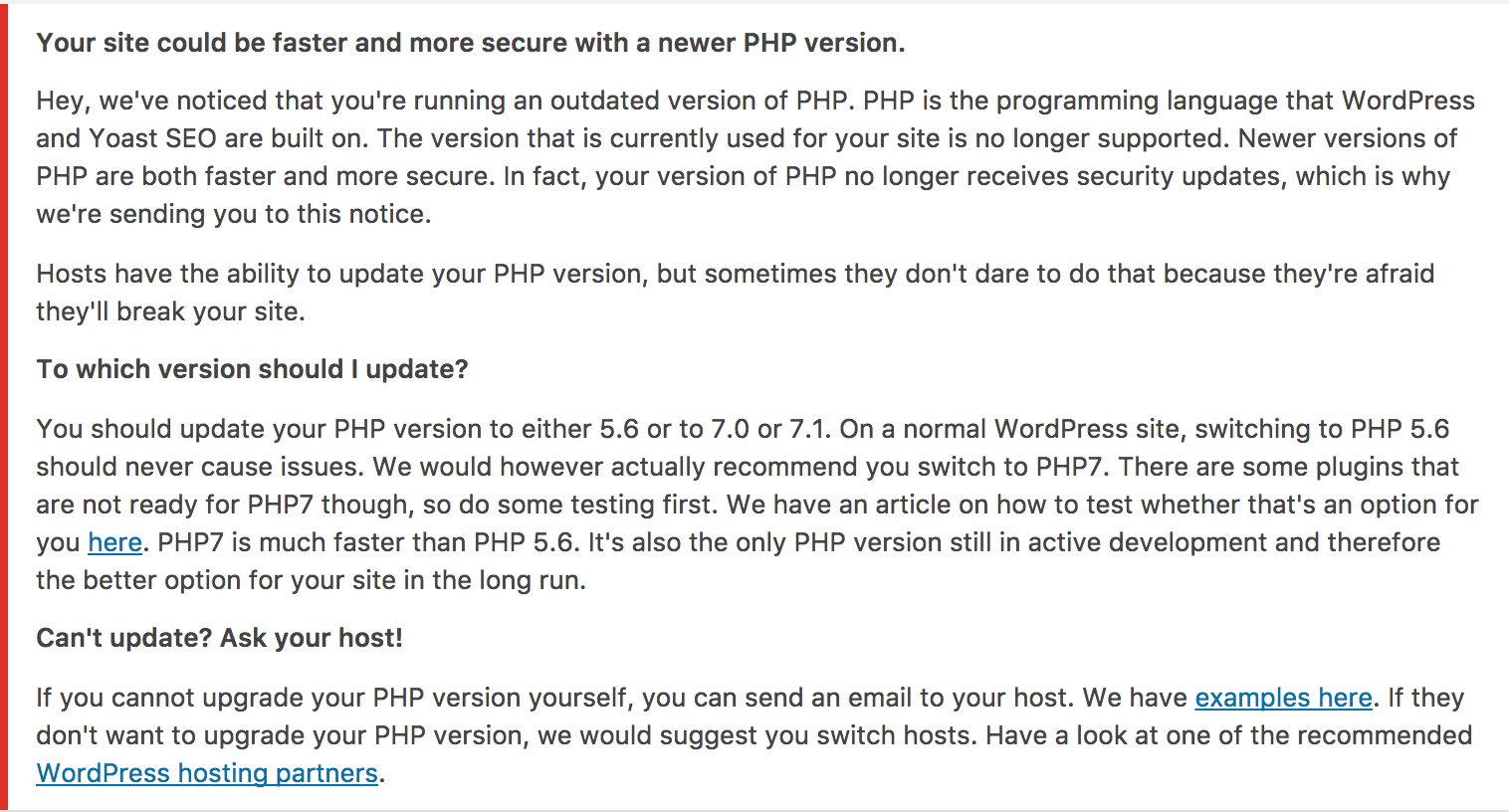 Yoast SEO's PHP Upgrade Nag is Producing a Significant