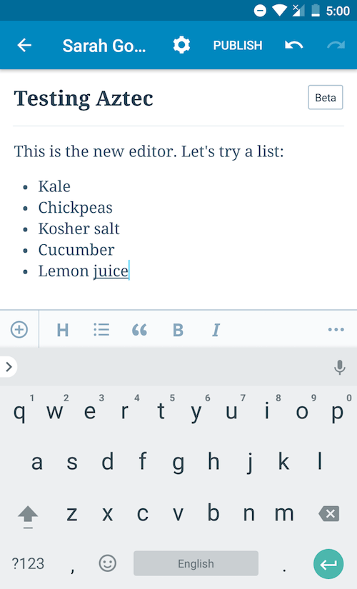 New Aztec Editor for WordPress Mobile Apps Now in Beta