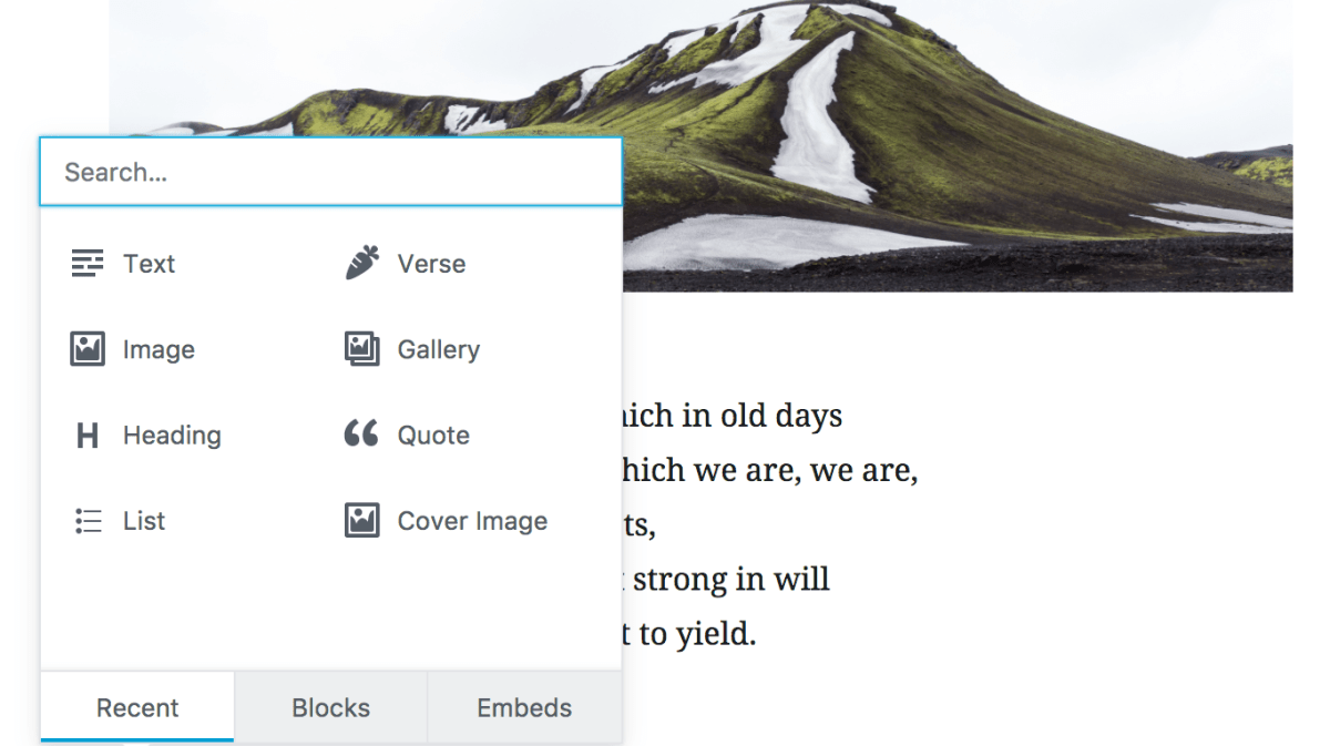 Thumbnail for Gutenberg 0.5.0 Adds New Verse Block for Poetry and a New Display for Recent Blocks