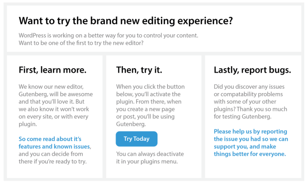 gutenberg-callout 'Try Gutenberg' Prompt Pushed Back to A Later Release design tips
