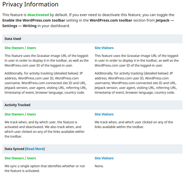 DetailedPrivacyInformation Jetpack 6.1, Now With Even More Privacy Information design tips