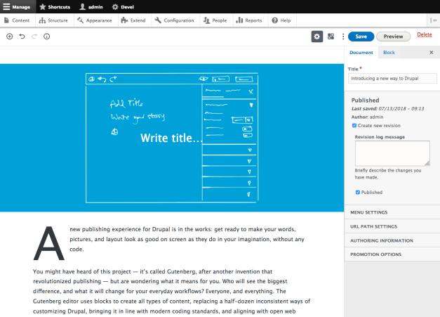 drupal-gutenberg First Look at Live Demo of the Gutenberg Content Editor for Drupal 8 design tips
