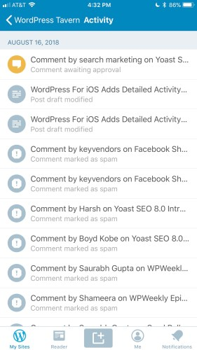 Detailed activity log in the WordPress for iOS mobile application