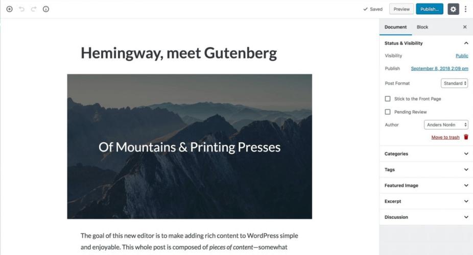 Hemingway Theme Adds Gutenberg Support