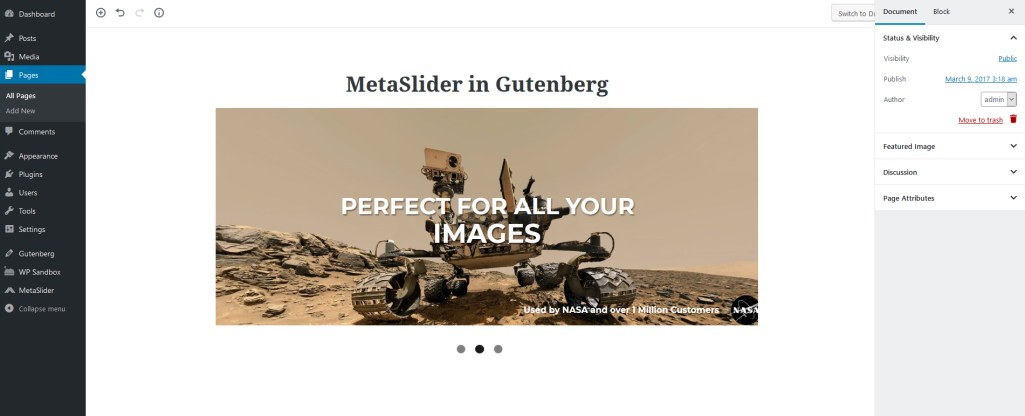 MetaSlider Plugin Adds Gutenberg Block for Inserting Sliders
