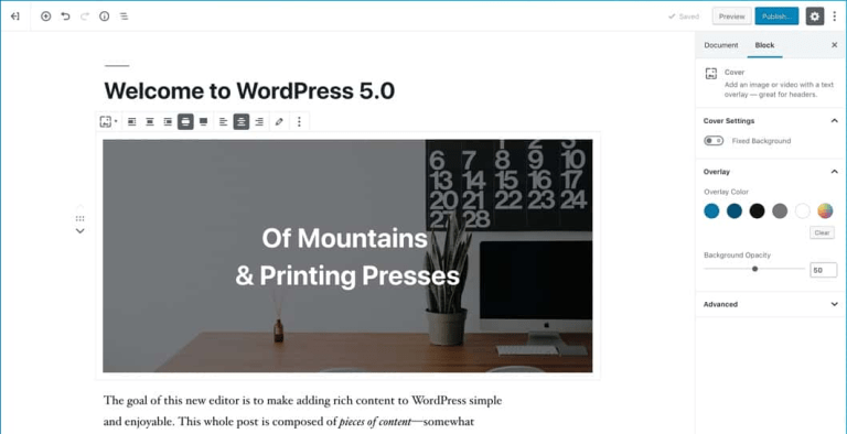 The new editor Gutenberg in WordPress 5.0