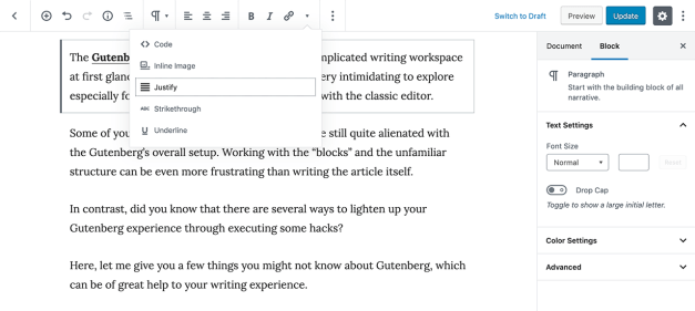 Gutenberg-justify-underline-formats New in EditorsKit 1.5: Justify Text Alignment, Autosave On/Off Toggle, and Highlighted Text design tips  News|Plugins|editorskit|gutenberg