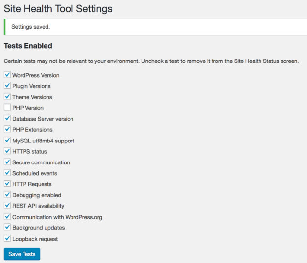 SiteHealthToolSettings Site Health Tool Manager Provides A Convenient Way to Disable Unnecessary Site Health Check Tests design tips  Plugins|site health check|tests|tools