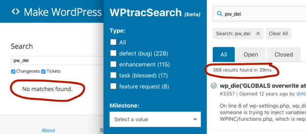 fuzzy-match WPTracSearch: An Elasticsearch-Powered Search Interface for WordPress Trac Tickets design tips  News|WordPress|elasticsearch|trac