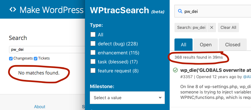 WPTracSearch: An Elasticsearch-Powered Search Interface for